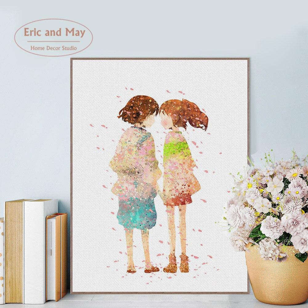 Pósteres e impresiones de flores de cerezo de Chica de anime cuadro decorativo en lienzo para decoración del hogar para sala de estar sin marco