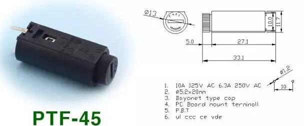 Envío gratis 10 Uds x PTF45 portafusibles Vertical PTF-45 5*20mm portafusibles de montaje en Panel