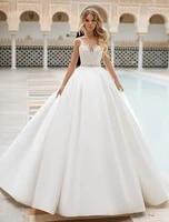 wedding dress ball gown lace appliques vestidos de novia bridal dress backless floor length sexy turkey wedding gowns
