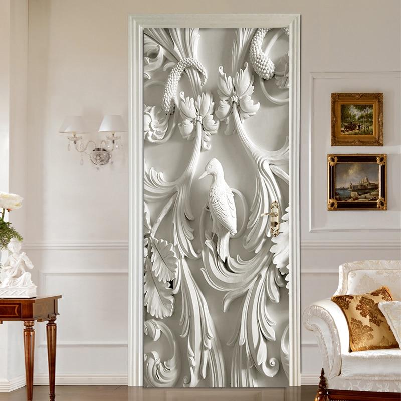 European Style 3D Stereo Murals Wallpaper Living Room Bedroom Creative DIY Door Sticker PVC Self-Adhesive Waterproof Wall Papers skull style alloy diy car sticker w self adhesive tap silver