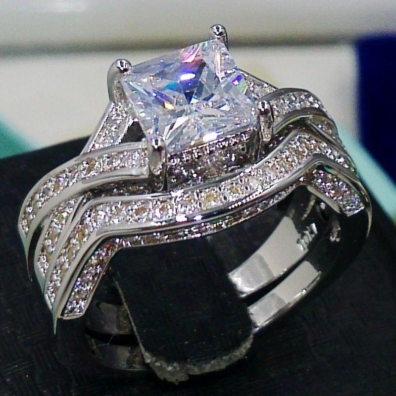 Envío Gratis, venta al por mayor, impresionante, 6mm x 6mm, corte de princesa, 14 kt, anillo de boda lleno de oro blanco, conjunto de anillos de compromiso, Sz5-11