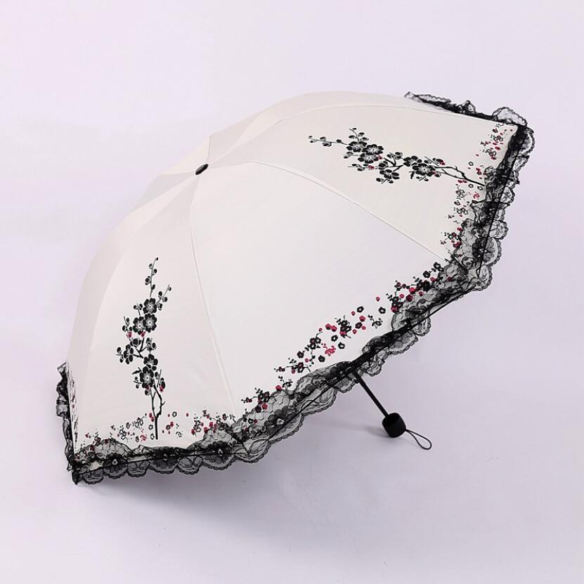Paraguas clásico de flor de ciruelo para mujer, sombrilla de encaje femenina,...