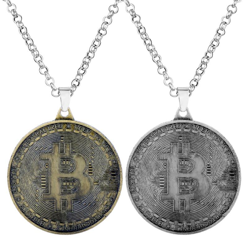 Collar de hombre joyería moneda Virtual collares de Bitcoin y colgantes gargantilla de moneda redonda collar de cadena de encanto accesorios de collares
