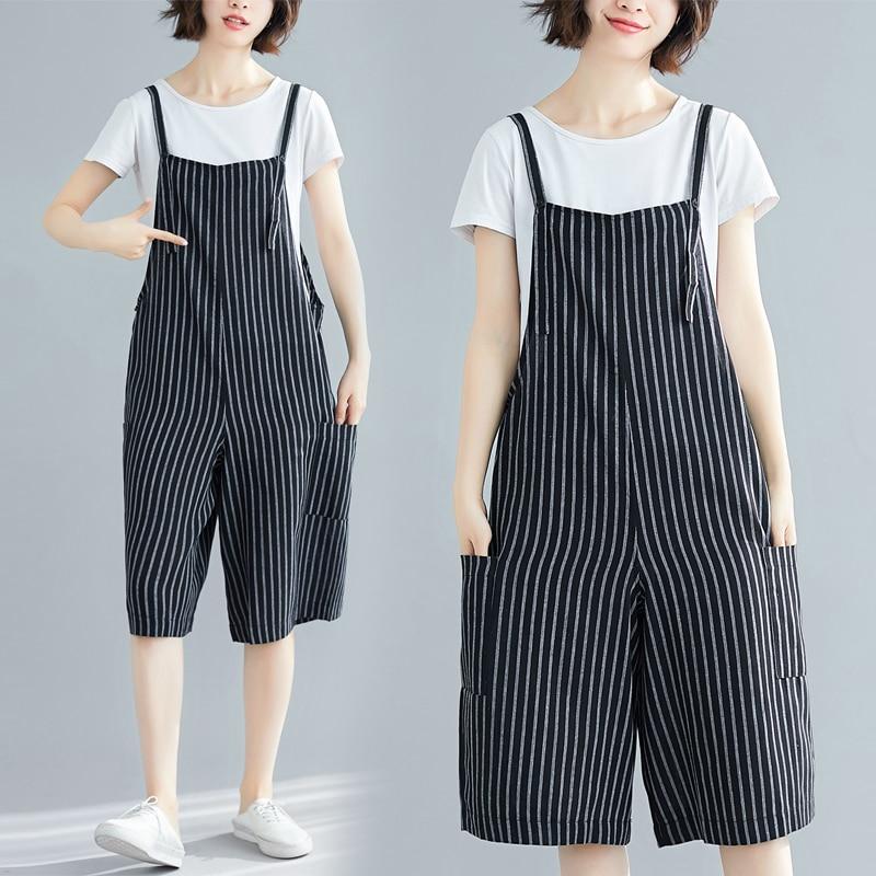 #4018 Summer Striped Sling Jumpsuits Lady Loose Off Shoulder Short Jumpsuit Casual Cotton Wide Leg Playsuit For Women Streetwear