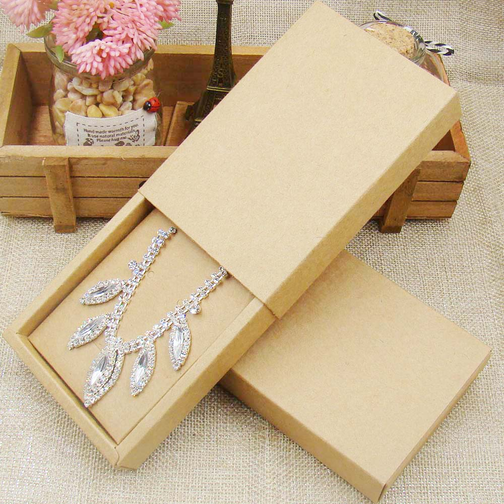 48pcs 4.5*3.15*1.0inch kraft paper jewelry display box custom logo printed necklace pendant box earring package cardboard box