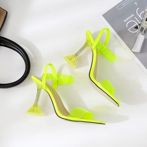 Odinokov, 2019, nuevas sandalias de PVC para mujeres, sexis, transparentes, tacones altos con correa de tobillo, sandalias de fiesta, Sandalias de plástico