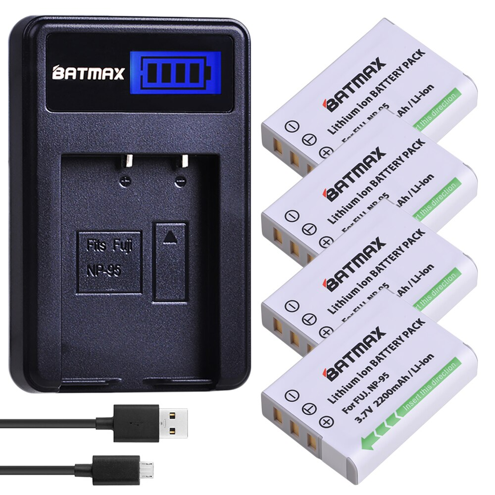 Batmax 4 Uds NP-95 NP 95 NP95 batería + LCD cargador para Fujifilm X30 X100 X100S X100T XS1 Fujifilm FinePix F30 F31 3D