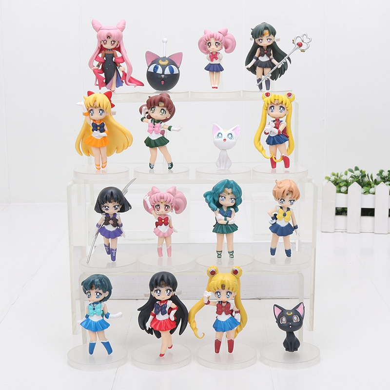 4 unids/set 6-8cm anime Sailor Moon figuras Tsukino Usagi Sailor Marte mercurio Júpiter Venus Saturn juguetes de figuras de PVC regalo de Navidad