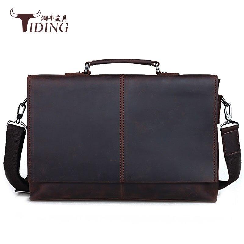 Винтажные Кожаные мужские сумки 2018 кожаная деловая сумка-мессенджер 15