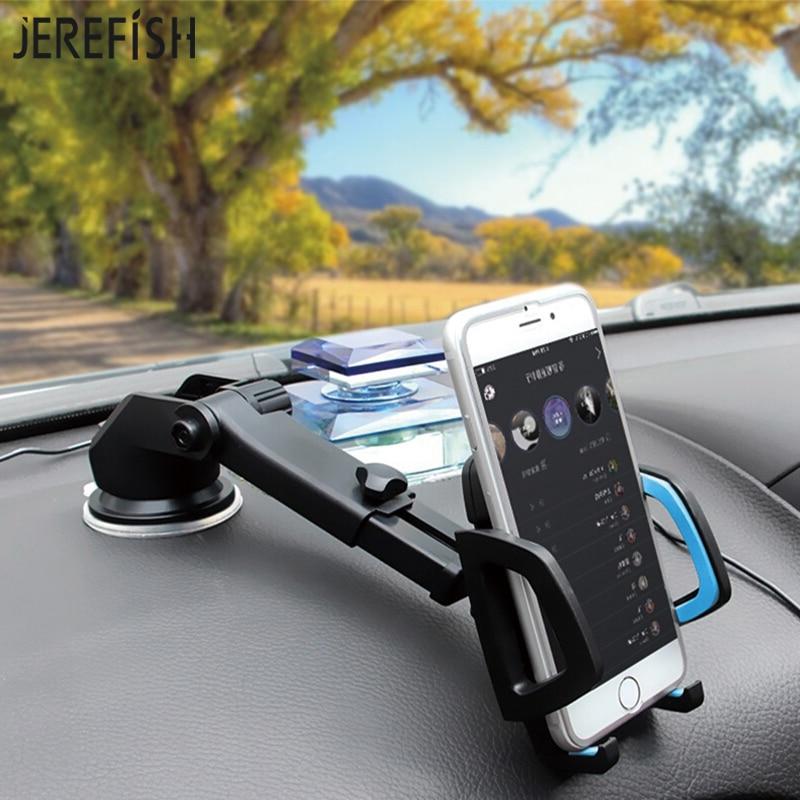 JEREFISH soporte para brazo de cuello largo para móvil de coche, base de soporte para Universal, soporte para teléfono, parabrisas 360, tablero giratorio