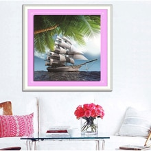 Diy Алмазная вышивка пляжная алмазная живопись Лодка 3d Мозаика Рукоделие 3d круглая Алмазная стеклянная мозаика полная вышивка