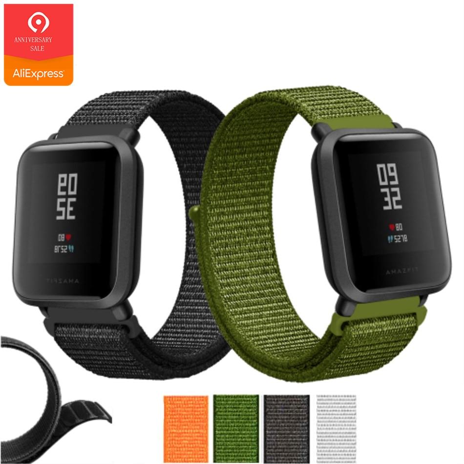 YUEDAER deportes correa de Nylon para Xiaomi Amazfit Bip reloj inteligente banda Negro verde pulsera para Amazfit Bip accesorios palo correas