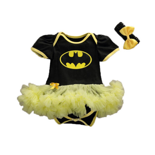 Newborn Baby Girls Batman Romper tutu Dress Skirt Outfits 2PCS Set