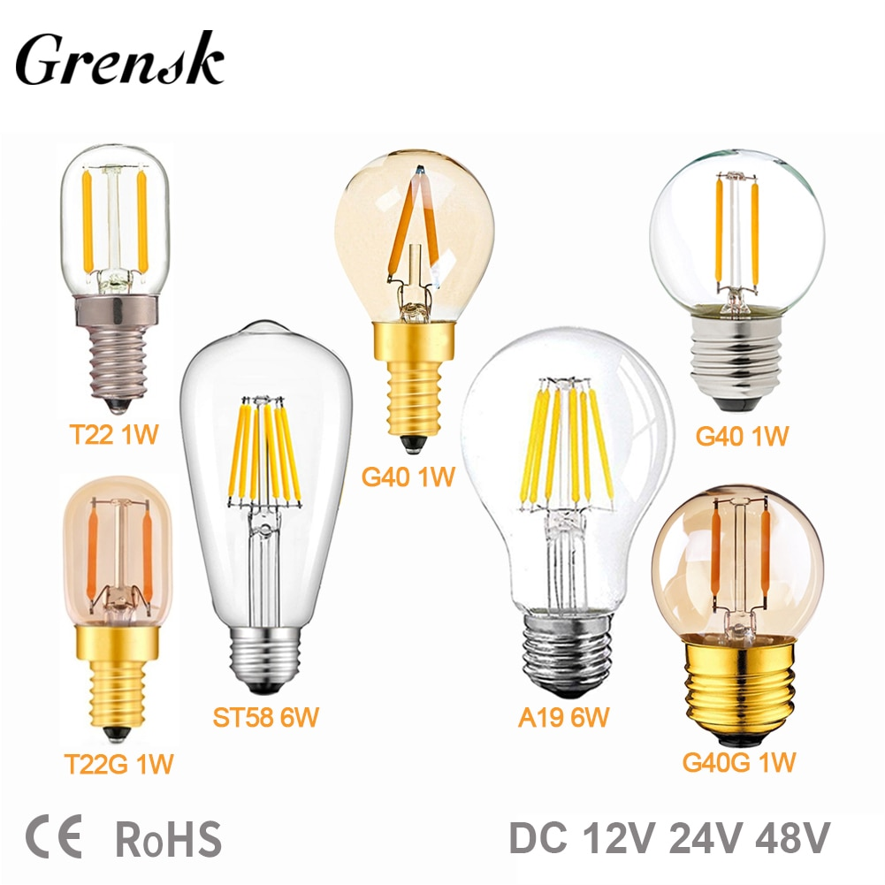 E27 12V 24V LED Light Bulb A19 ST58 6W E27 Led Daylight White T22 G40 Low Voltage 1W E12 E14 Led Lam