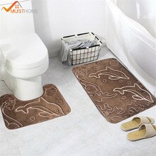2Pcs 3D Dolphin Pattern Bathroom Bath Mat Set Mirrofiber Cartoon Bath Rug Set