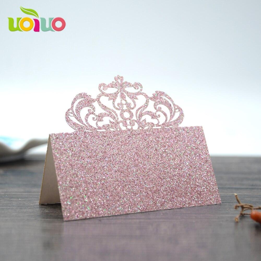 Индивидуальные 50 шт., Корона из бумаги, лоза, лазерная резка, карточка с именем и местом для свадьбы, празднования, дня рождения, украшения ст...