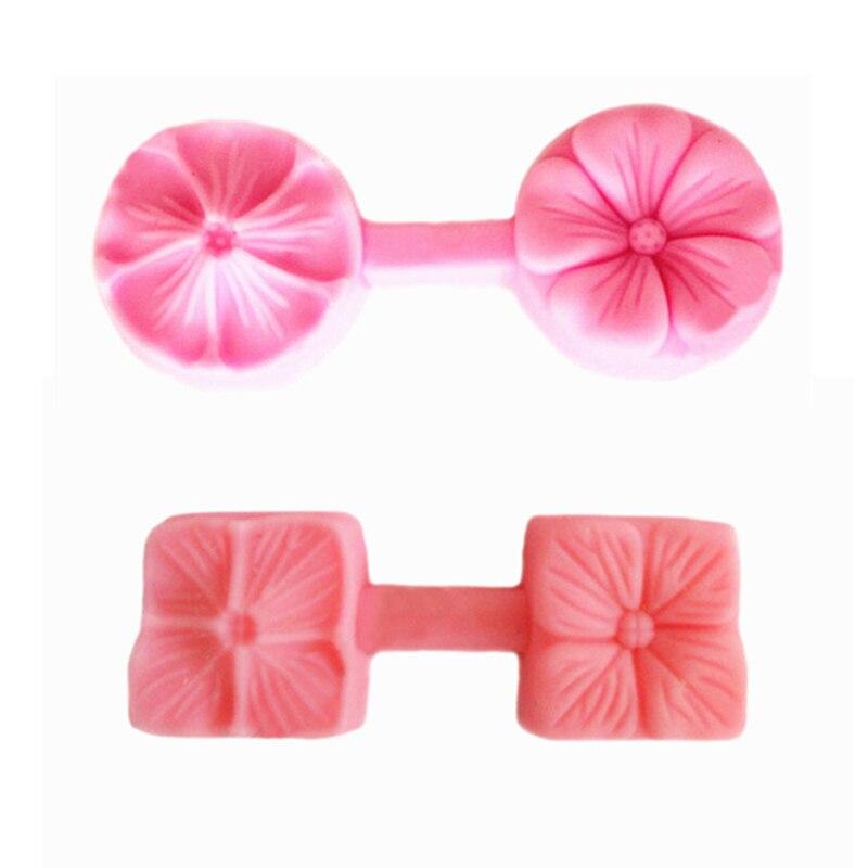 2 piezas 3D flor pétalos Fondant cara silicona Molde DIY Sugarcraft pastel decoración herramientas Molde para hornear Forma De Molde De silicona