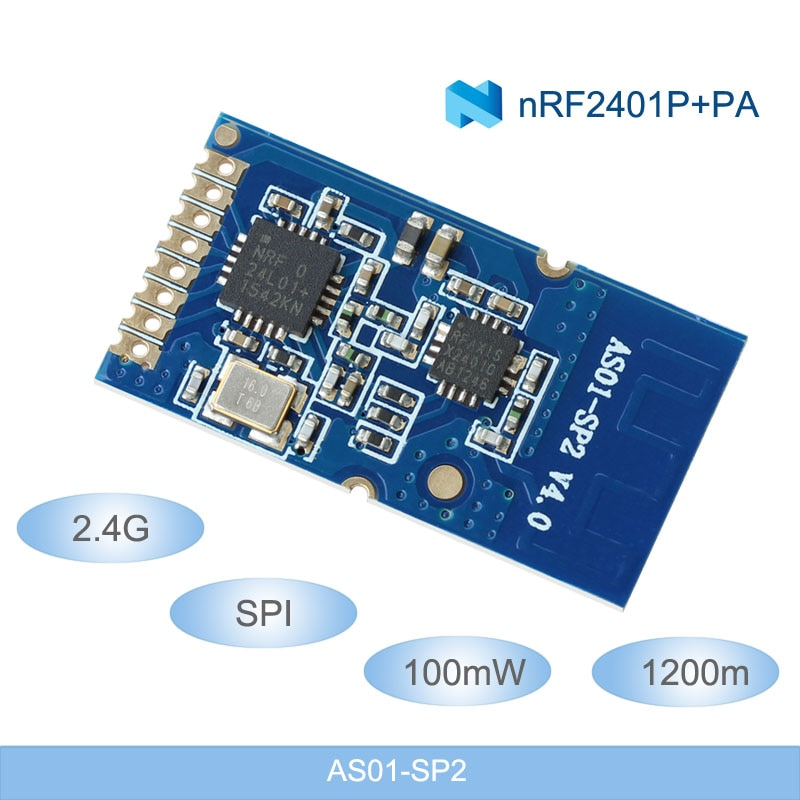 Módulos de RF inalámbricos de 2,4G, módulos inalámbricos de 1200m de larga distancia NRF24L01 + PA + LNA 2,4 ghz, módulos inalámbricos de 100mW SPI transmisor y receptor RF