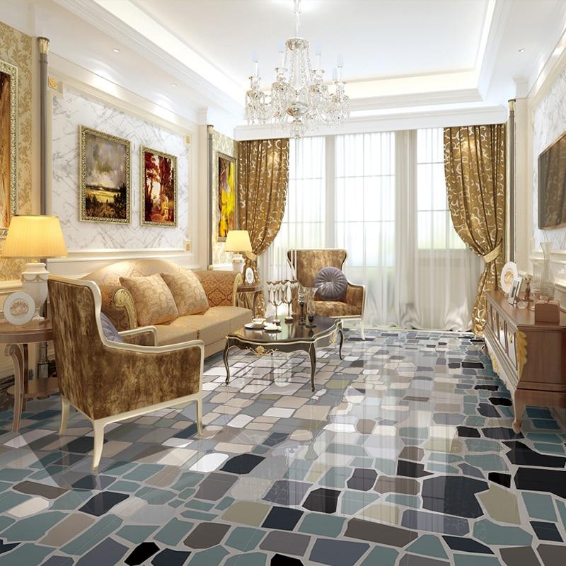 Papel tapiz de suelo 3D, moderno, estampado geométrico abstracto, azulejos de suelo, Mural de PVC impermeable, papel tapiz de cocina autoadhesivo
