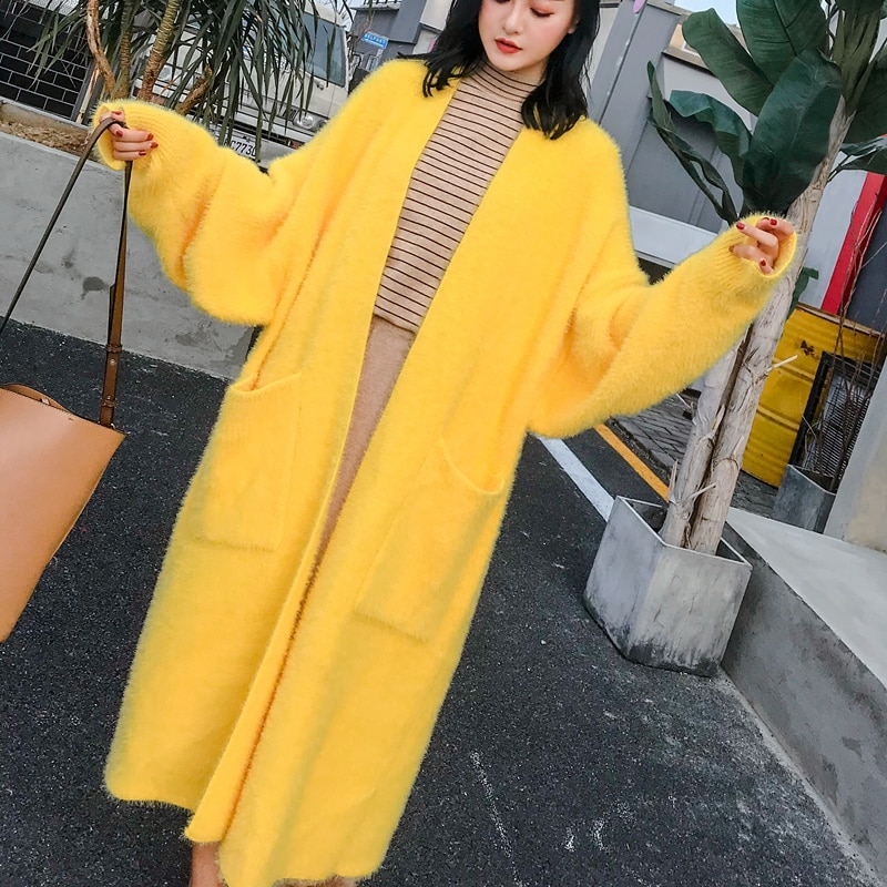 Autumn Winter Women Cashmere Cardigan Loose Casual Oversize Sweaters Mink Cashmere Long Cardigan Chic Wool Warm Knitted Coats enlarge