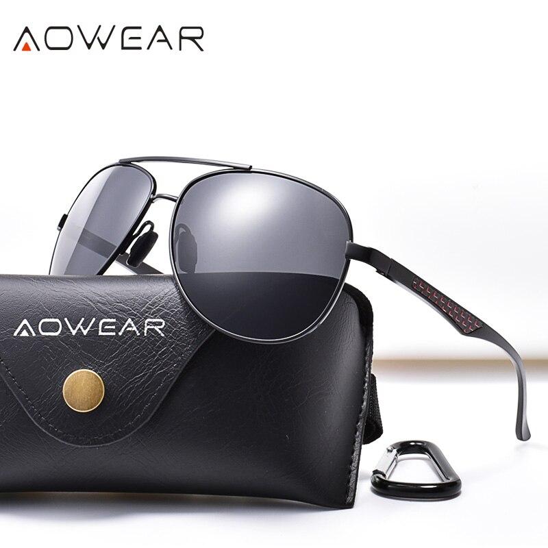 AOWEAR Marca Designer 2019 óculos de Sol Dos Homens Polarizados Grande Espelho Óculos de Sol Piloto Da Aviação para a Condução Óculos homens Oculos Gafas