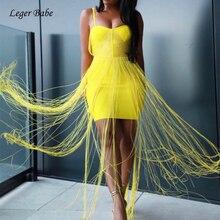 Leger Querida HL 2018 Novas Mulheres de Verão Sexy Spaghetti Strap Longo Borla Alta Qualidade Bodycon Bandage Vestido de Festa Club Wear vestidos