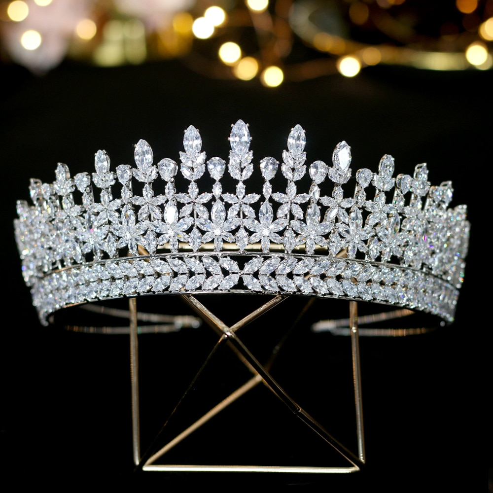 Tiara cubica de circonia cúbica, accesorios nupciales para boda, corona de graduación,...