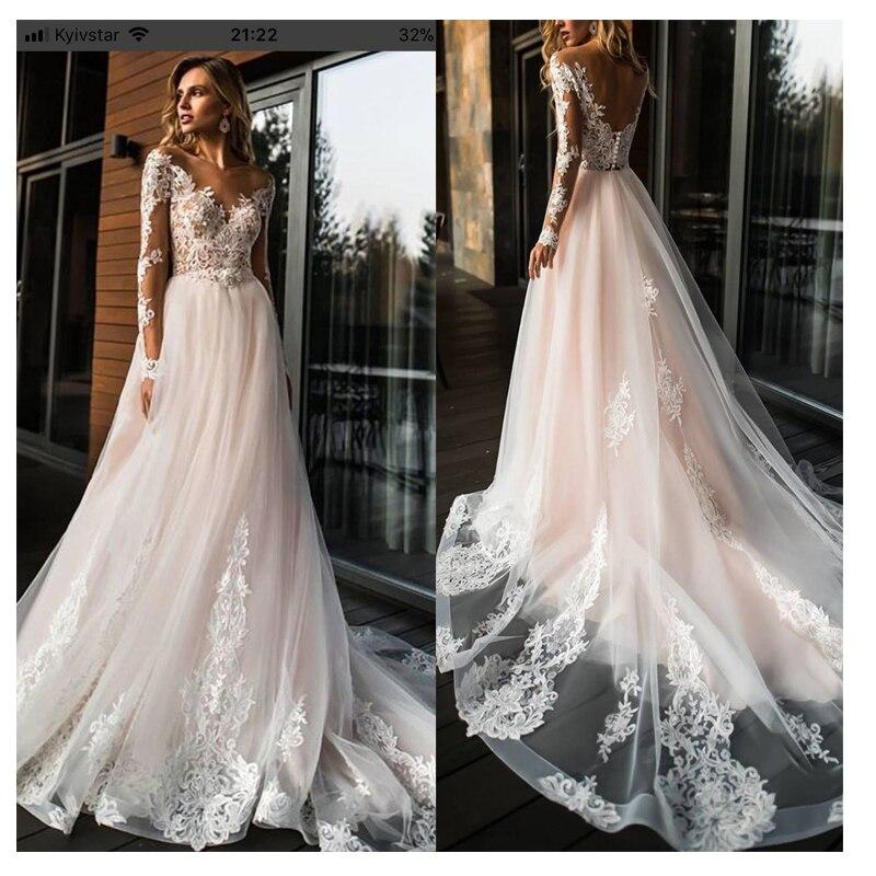 Vestido de novia de encaje elegante Vestidos de novia 2019 Simple una línea vestido de novia cuello redondo Sexy romántico longitud del piso Vestidos de boda