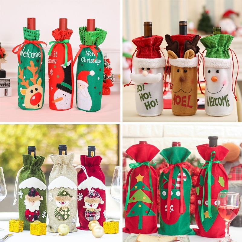 Funda navideña para botella de vino adornos navideños para el Hogar Santa Claus medias de regalo titulares Navidad Año Nuevo 2019 Decoración