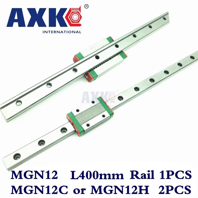 Piezas del enrutador Cnc carril lineal AXK 1 pieza 12mm ancho 400mm Mgn12 carril de guía lineal + 2 piezas Mgn Mgn12c o MGN12H bloques carro Cnc