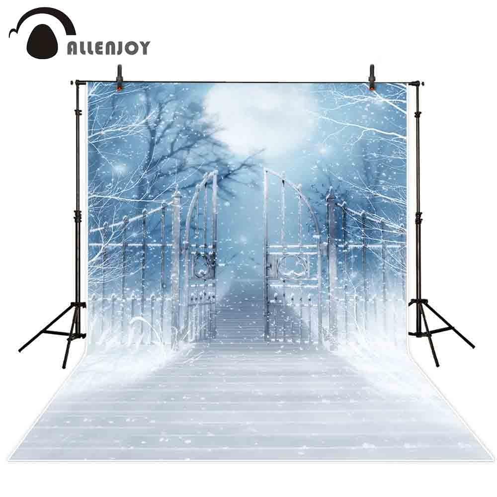 Allenjoy фон для фотосъемки зимний забор Лес Ночь луна снег сказка фон фотостудия детский Фотофон