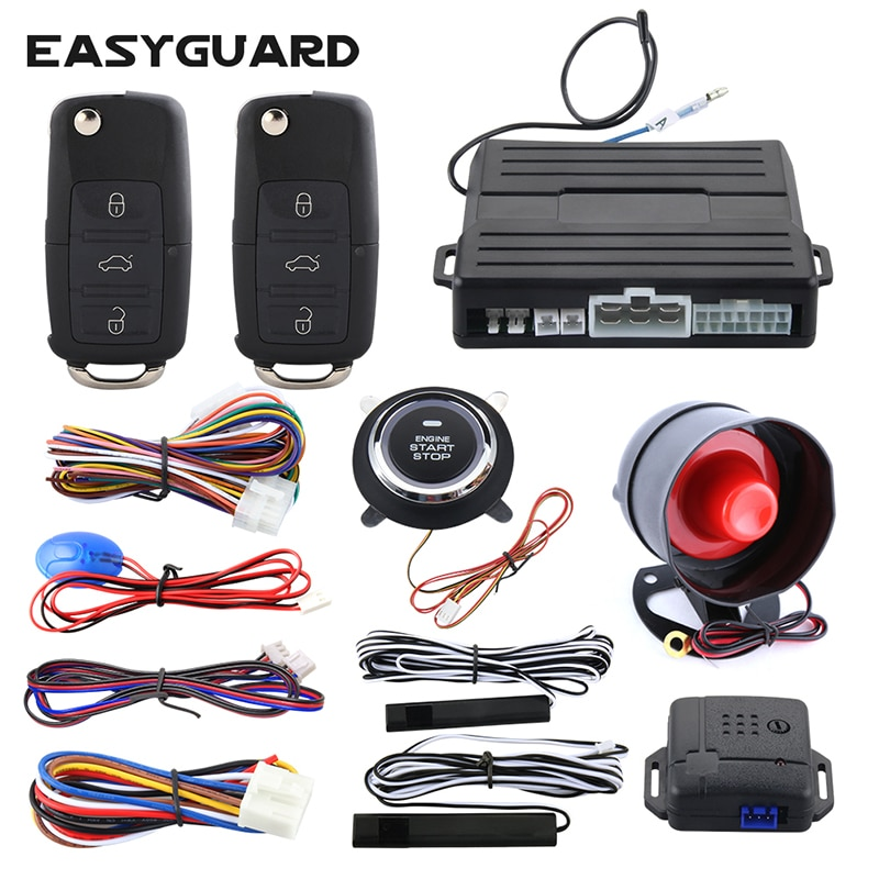 Easyguard PKE alarm system car passive keyless entry security kit remote engine start push button start auto lock unlock