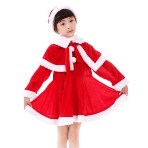 Boy Girl Christmas Cloth for Girls Santa Claus Clothing Costume Set New Year Dress with Cape and Cap Outfits Long Sleeve