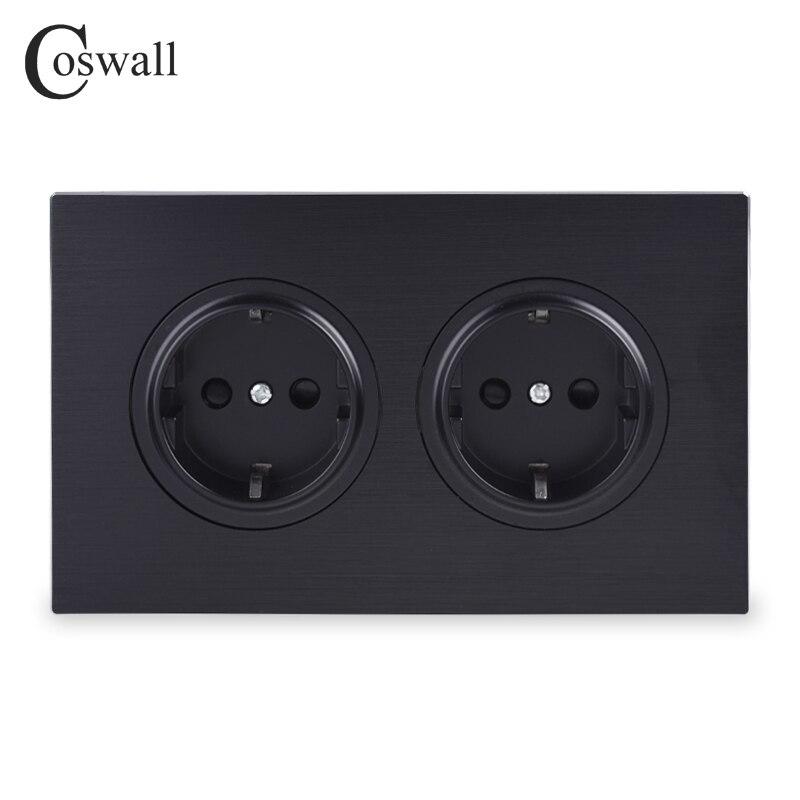 Cosmall lujoso Panel de aluminio negro 16A toma de corriente de pared estándar de la UE con bloqueo de protección infantil tipo 146