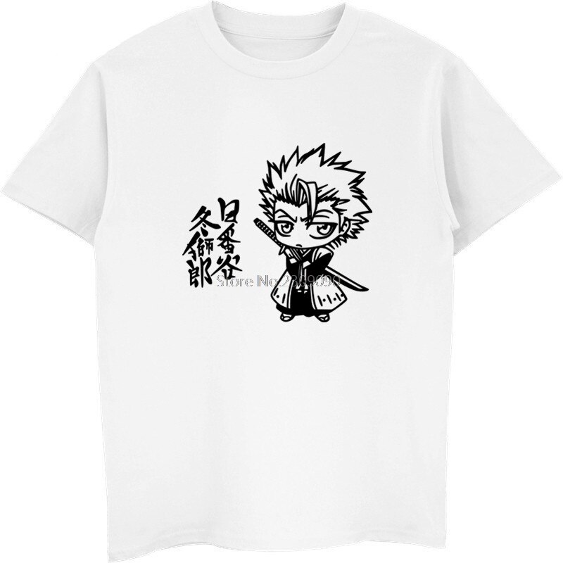 Lejía Hitsugaya Toushirou Impresión de anime camiseta de los hombres de algodón de manga corta Camiseta de hip hop camisetas altas Harajuku Streetwear Fitness