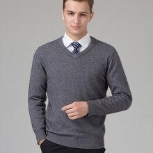 Suéter para hombre 100% de punto de Cachemira de cabra jerséis de abrigo para invierno con cuello en V de manga larga sudaderas estándar para hombre Jumper 8 colores Tops