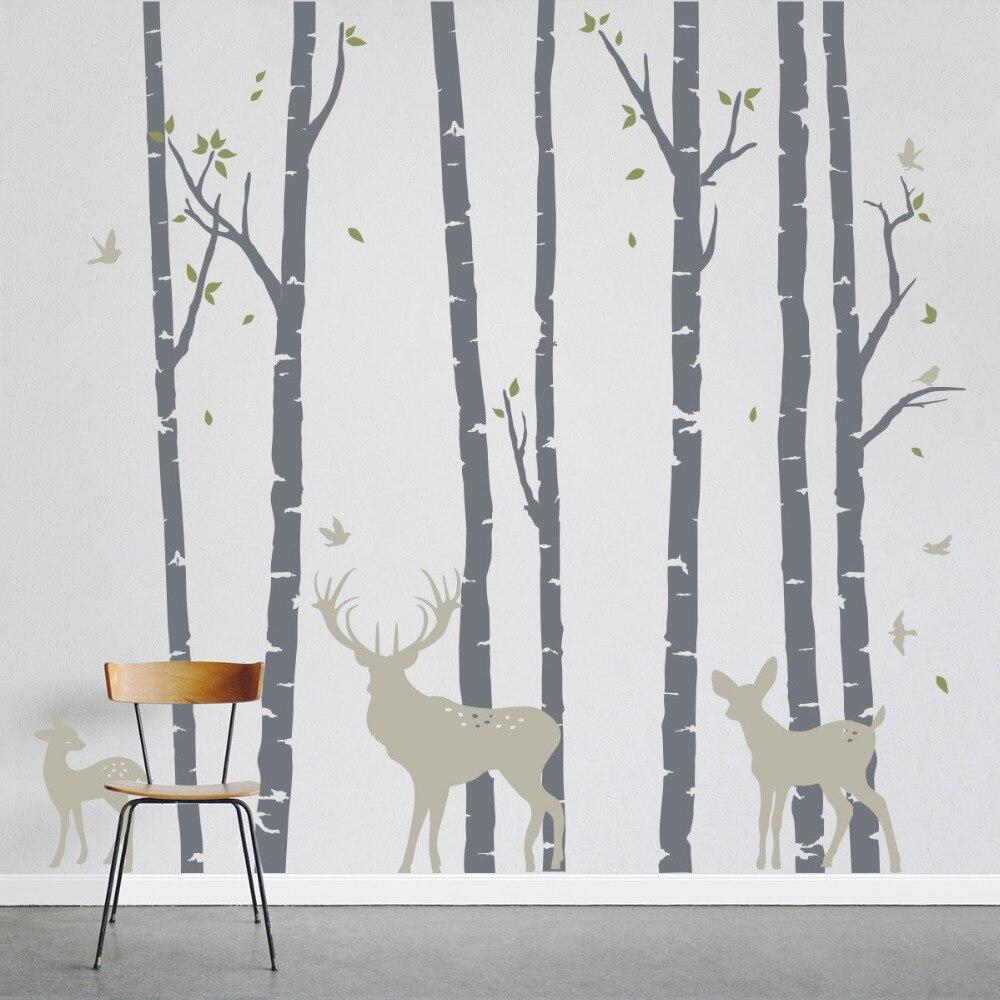Große Größe Birke Bäume Wald mit Hirsche Wand Aufkleber Art Home Wand Decor Wandbild Aufkleber Abnehmbare Vinyl Baum Dekorative LC235