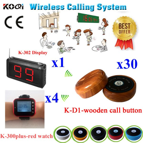 Restaurant Pager Waiter Call Button System 2016 New Wireless Pack Of 1 pcs Panel Receivers+30 Call Buttons+3 pcs Watch Receiver