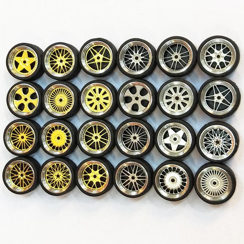 4 teile/satz 1 64 modell Geändert Reifen Gießt Druck Legierung Rad Reifen Gummi Spielzeug Fahrzeuge Allgemeine Modell Von Auto Ändern Zubehör Drop Schiff