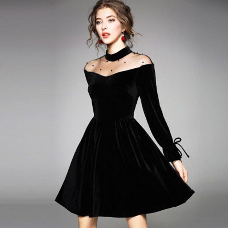 Johnature סקסי תחרה כבוי כתף קיץ שחור Pleuche גודל S-4XL שמלת נשים 2020 חדש O-צוואר גבוה מותניים עניבת בתוספת אונליין שמלות