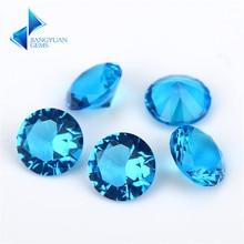 Taille 1 ~ 15mm couleur de mer foncée forme ronde Machine coupe pierres de verre en vrac pierres synthétiques pour bijoux