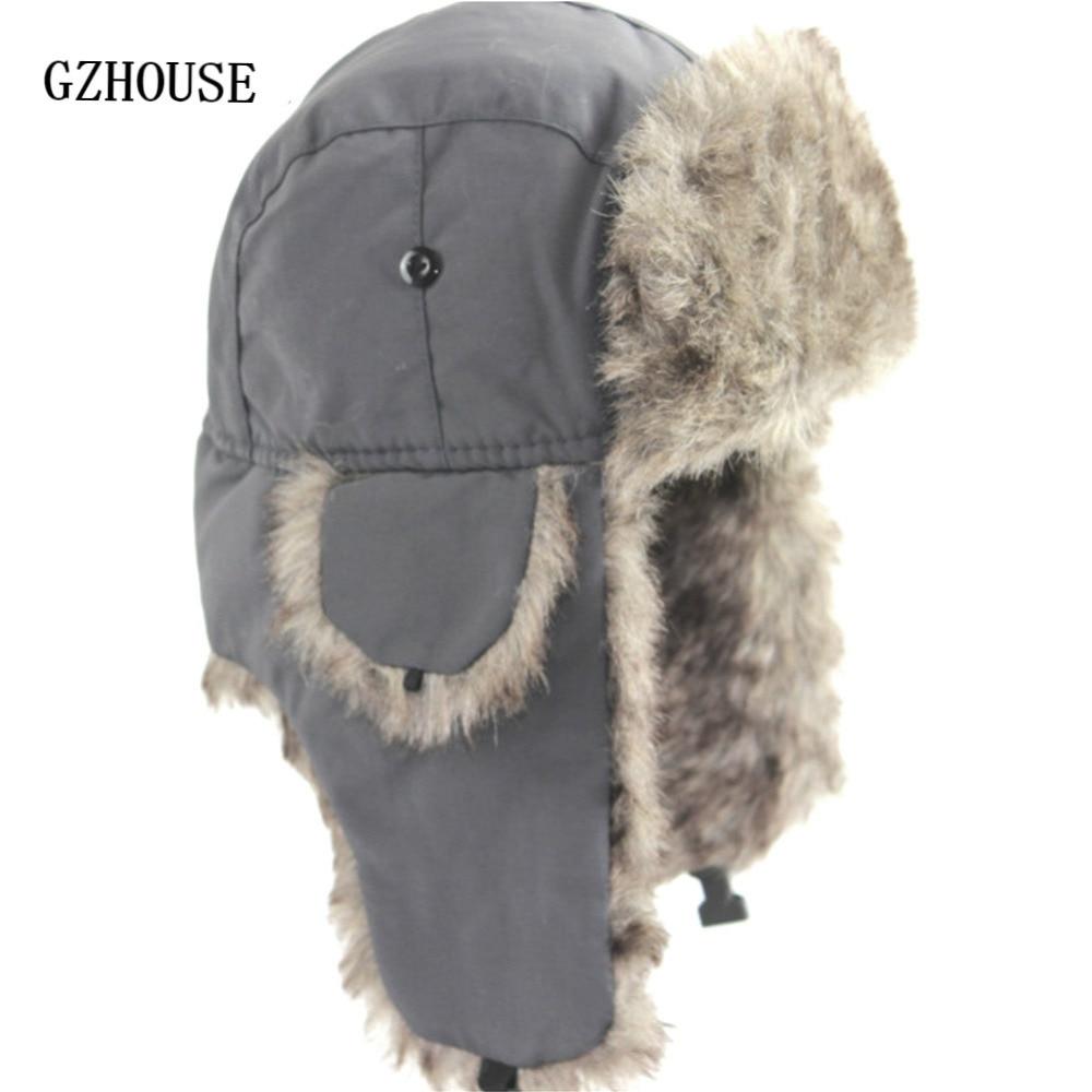 Winter Hat Keep Warm Unisex Winter Trapper Aviator Trooper Earflap 2019 Russian Ski Hat Fur Bomber F