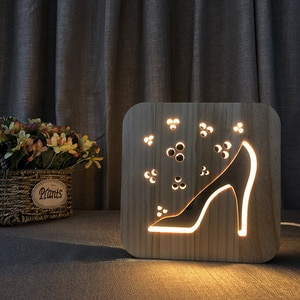 Wooden High-heeled Shoes Lamp Solid Wood Carving LED Night Lamp Creative USB Power Supply 3D Night Light for Children Gift