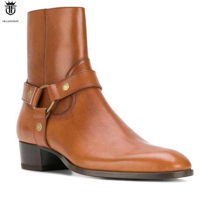 LANCELOT-bottes en cuir véritable marron homme   Boucles à coupe haute, croix, style britannique, mode chelsea, nouvelles chaussures de printemps 2019