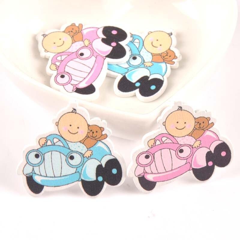 Без отверстий синий/розовый детская Автомобильная картина с зонтом деревянные пуговицы ручной работы для скрапбукинга ремесло 20 шт 32x35 мм ...