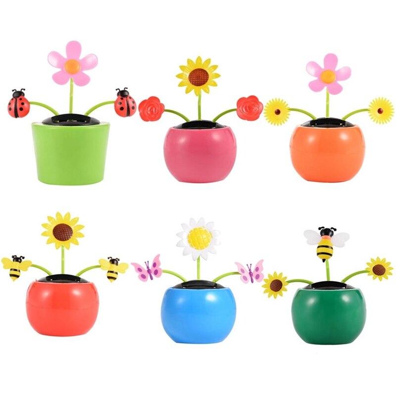태양 애플 꽃 스윙 인형 장난감 자동 스윙 해바라기 자동차 인테리어 장식