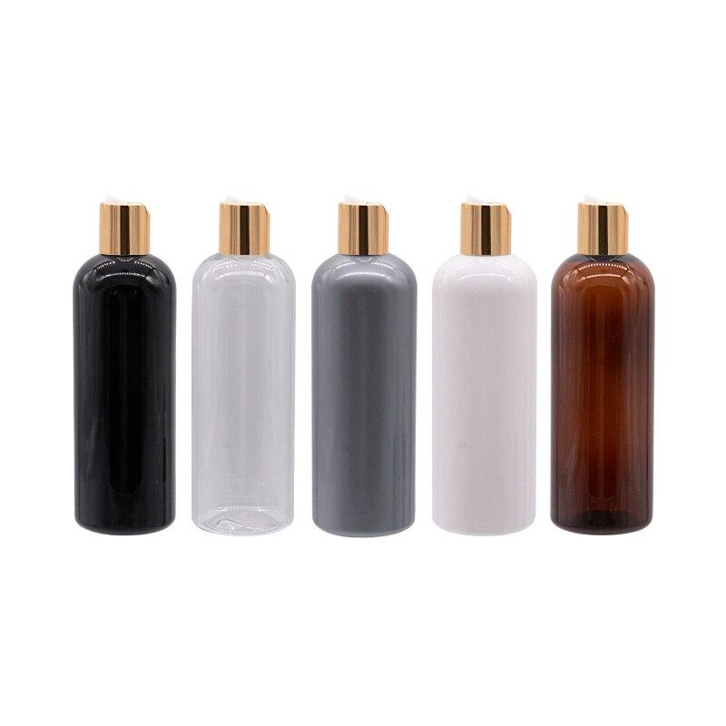 Bouteille plastique vide ronde de 300 ml, conteneurs de bouteille en plastique, capuchon de presse doré, shampoing, nettoyage, bouteilles demballage, couvercle de disque en aluminium