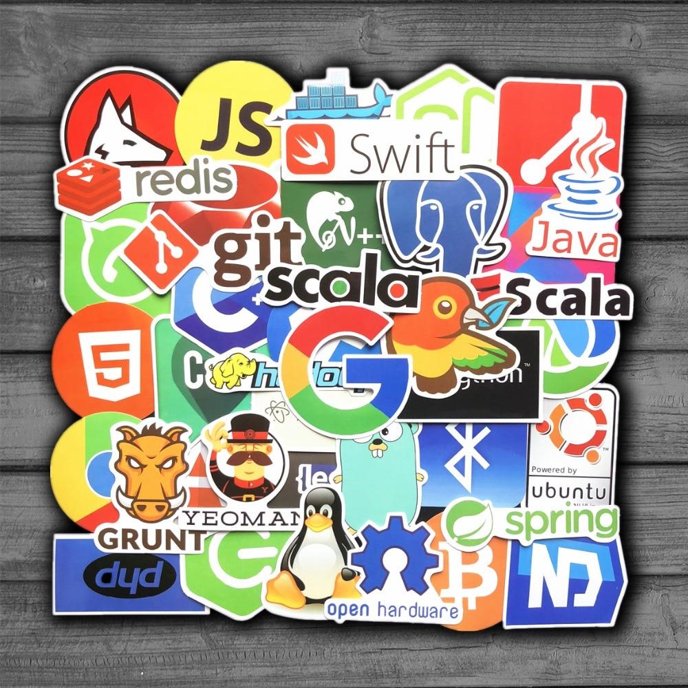 50Pcs/Lot Internet Java JS Php Html Cloud Docker Bitcoin Programming Language APP Logo Cool Stickers for Laptop Car DIY Stickers