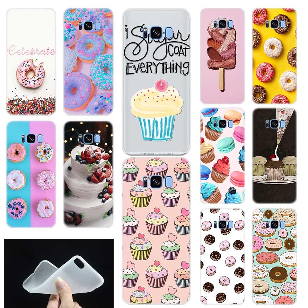 Funda de teléfono con patrón de tarta y tarta de Donuts postre para Samsung Galaxy S7 S6 Edge S8 S9 S10 S11 S20 Plus E Note 8 9 10Plus