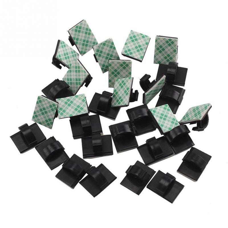 30Pcs White Car Wire Tie Clip Fixer Organizer Black and white color Clamp Cord Cable Line Holder Self Adhesive
